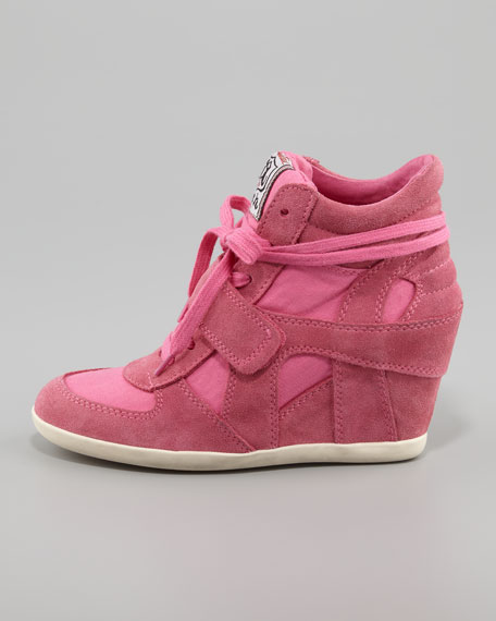 Bowie Suede & Canvas Wedge Sneaker, Pink