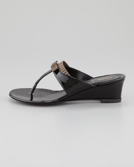 Striped Fabric-Patent Wedge Thong Sandal, Black