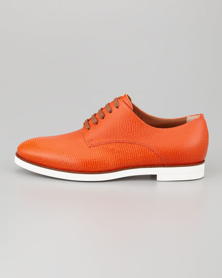 Lizard-Stamped Leather Lace-Up, Orange