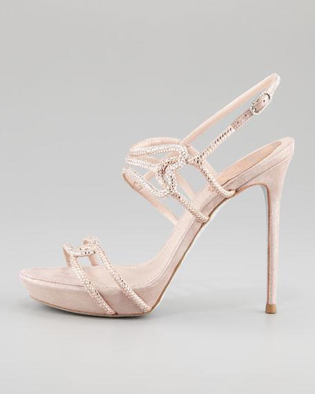 Platform Interlocking Crystal-Strap Strass Sandal