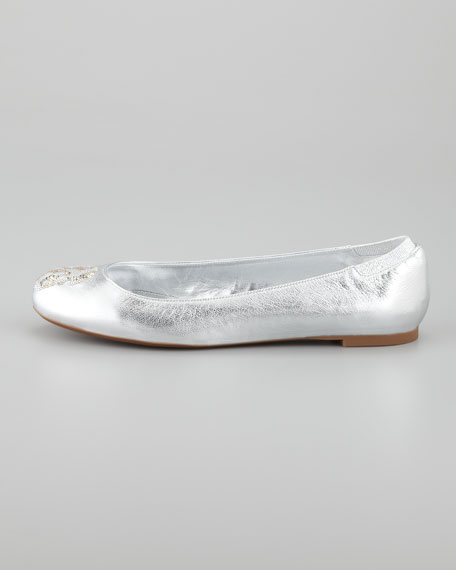 Metallic Sequined Skull Ballerina Flat, Silver/White