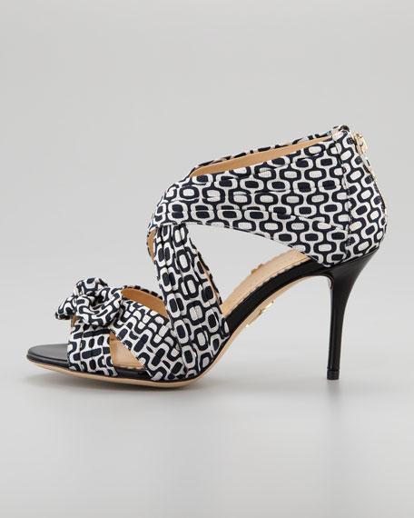 Patricia Pleated Printed Crepe Sandal