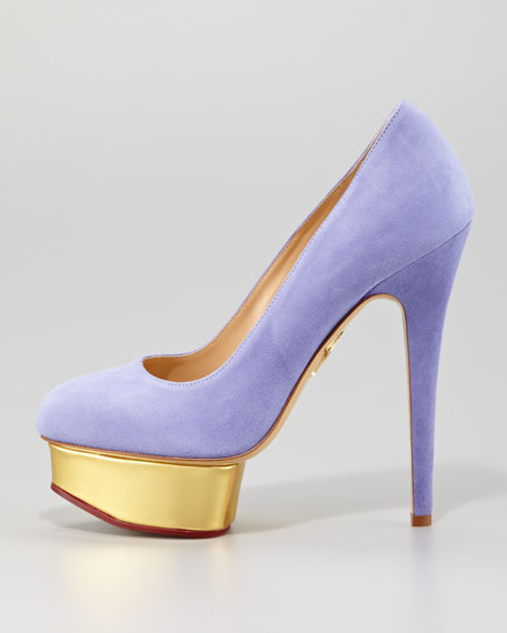 Dolly Removable-Strap Platform Pump, Lavender