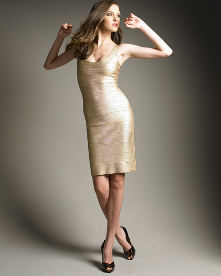 Signature Bandage Dress, Gold