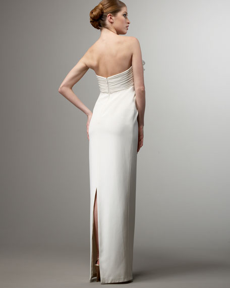 Strapless Ruffle-Bust Crepe Gown