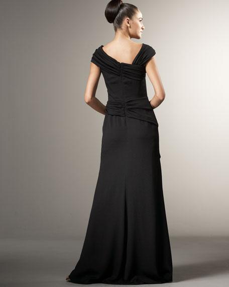 Asymmetric-Neck Draped Gown