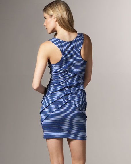 Striped Tiered-Ruffle Dress