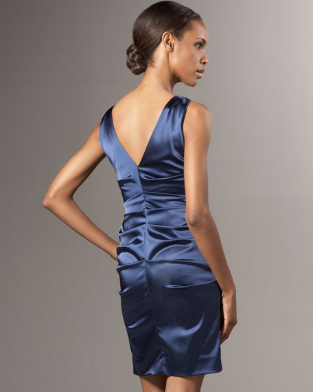 Front-Zip Stretch Satin Dress