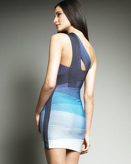 Ombre One-Shoulder Cocktail Dress