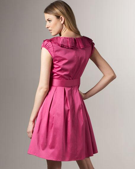 Ruffled V-Neck Cap-Sleeve Dress