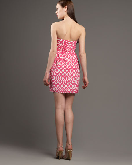 Ikat-Print Sweetheart Dress