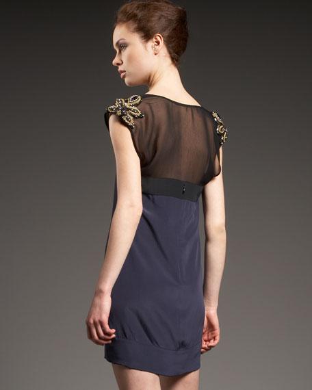 Beaded Cap-Sleeve Silk Dress