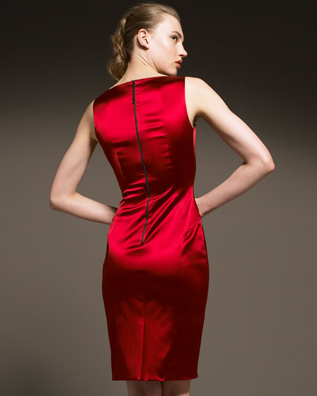 D&G Stretch-Satin Sheath Dress, Red