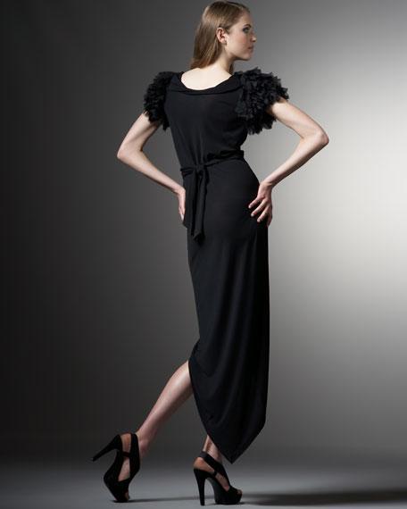 Beulah Shredded-Sleeve Gown