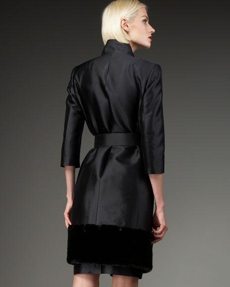 Faux Fur-Trim Skirtsuit, Women's