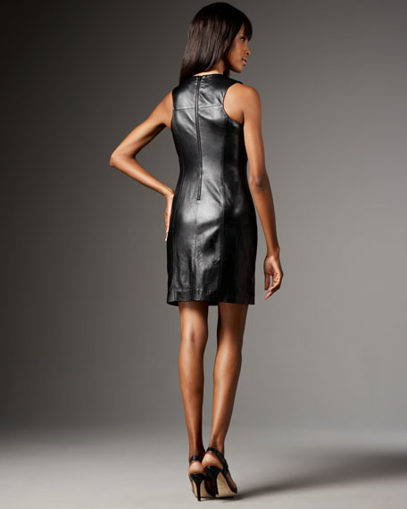 Sleeveless Seamed Leather Dress