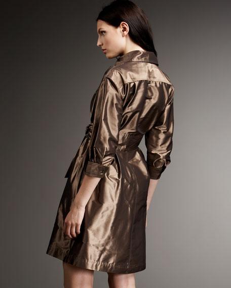 Belted Metallic Shirtdress