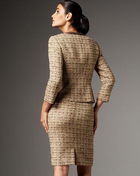 Jewel-Collar Tweed Skirtsuit