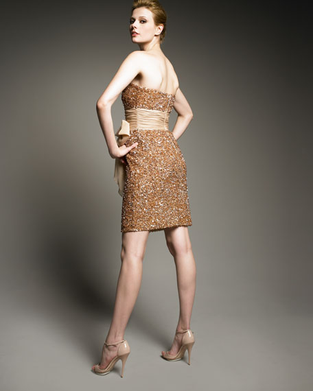 Sequined Bow-Waist Dress