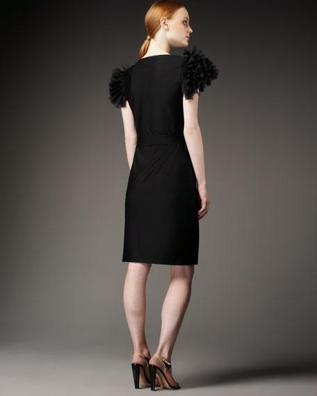 Organza-Shoulder Wrap Dress