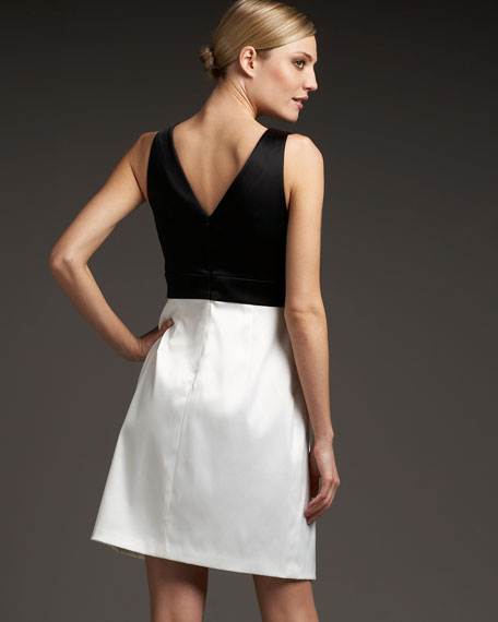 Two-Tone Bow-Waist Dress