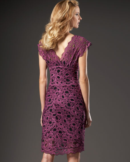 Scalloped Stretch-Lace Dress