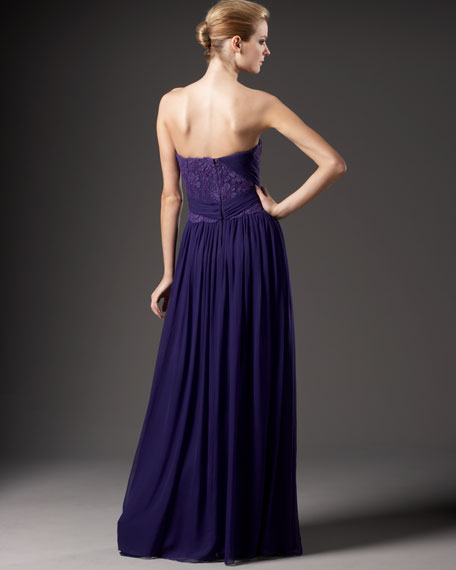 Lace-Inset Chiffon Gown