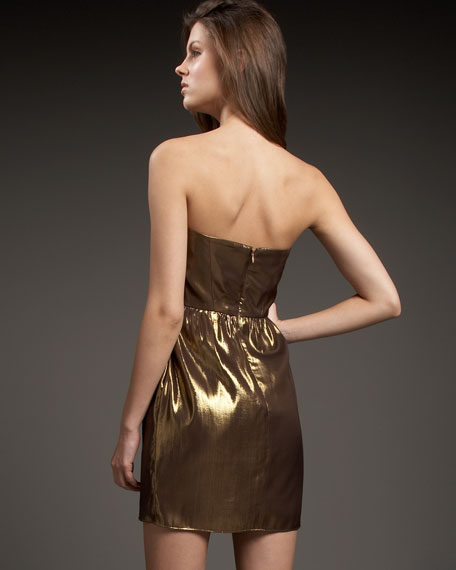 Strapless Metallic Silk Dress
