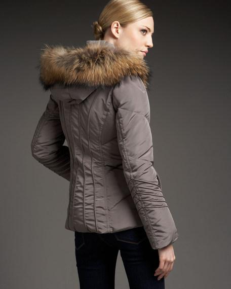 Fur-Trim Seamed Jacket
