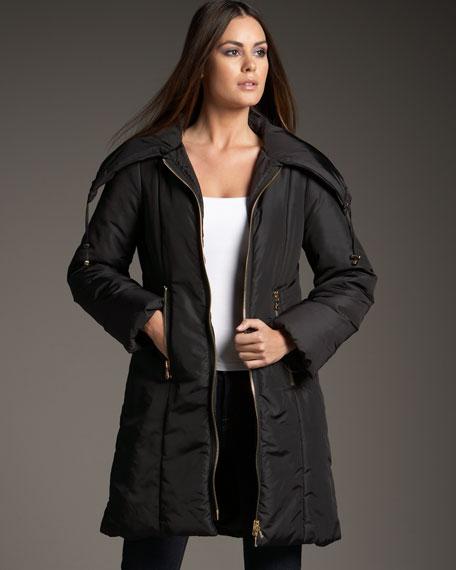 Long Front-Zip Nylon Jacket