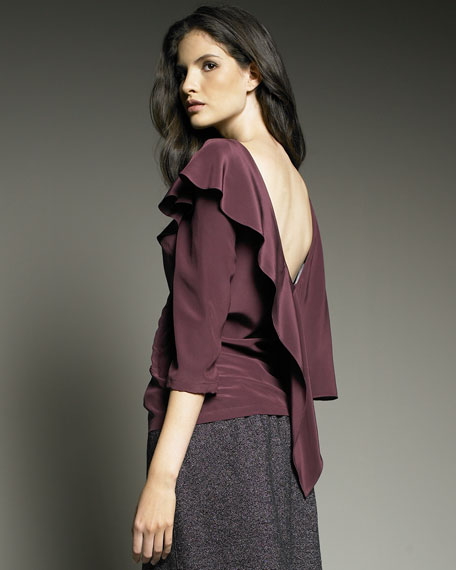 Ruffled Low-Back Blouse