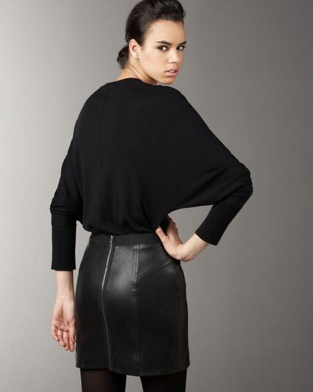 Leather-Skirt Dolman Dress