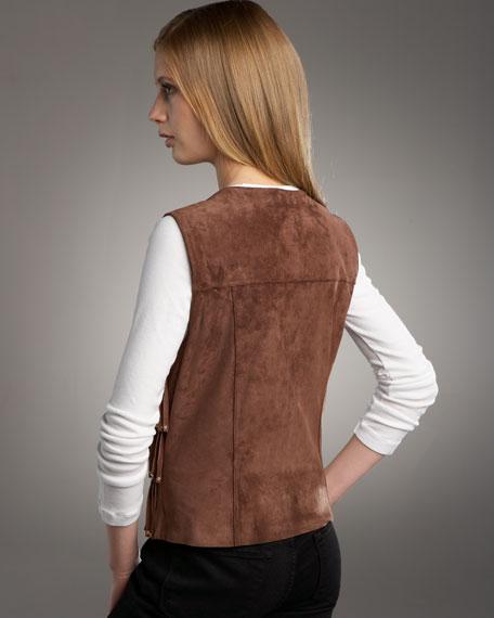 Studded Suede Fringe Vest, Petite