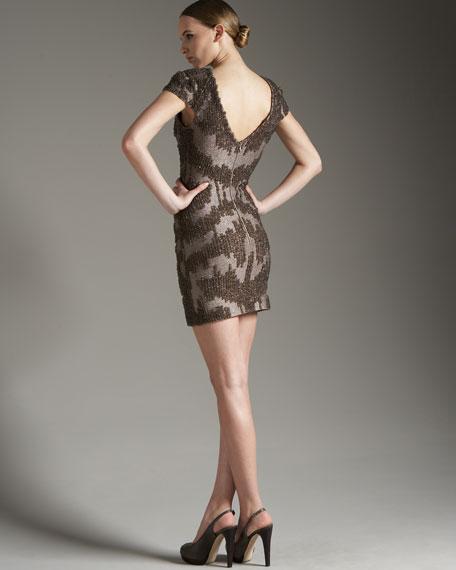 Beaded-Lace Cap-Sleeve Dress