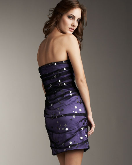Sequin-Dotted Overlay Dress