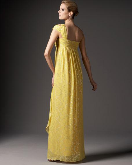 One-Shoulder Foil Gown