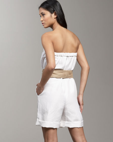 Belted Strapless Jumpsuit