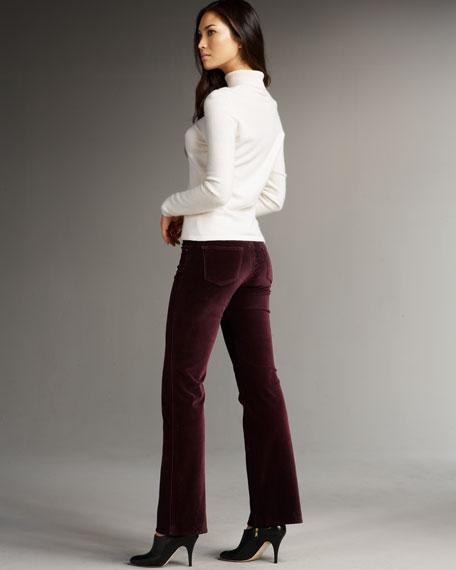 Grace Stretch Velvet Boot-Cut Pants,  Crimson