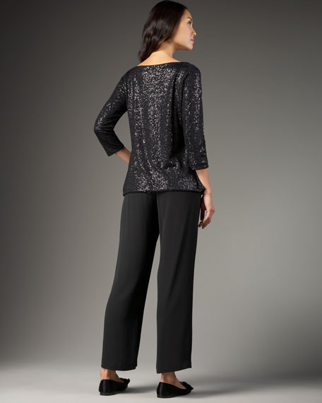 Sequin Stretch Drape-Neck Top, Petite