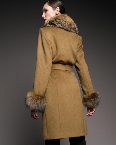 Long Fur-Trimmed Coat