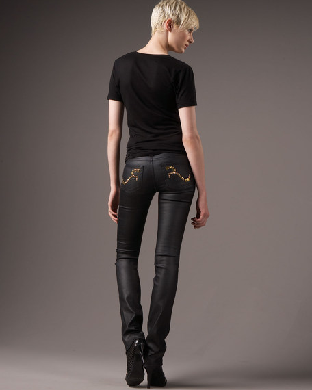 Stella Crust Straight-Leg Studded Jeans