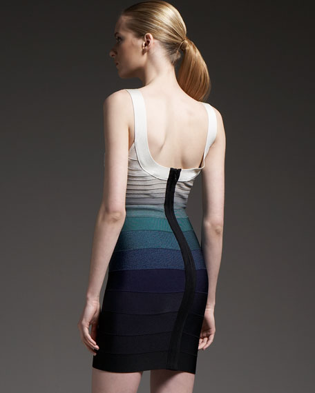 Scoop-Neck Ombre Bandage Dress