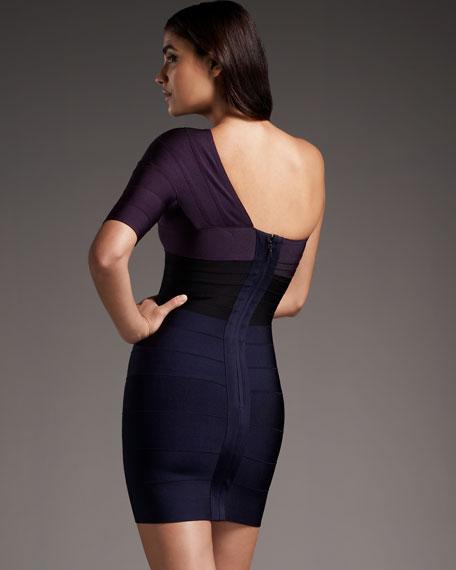 One-Shoulder Colorblock Bandage Dress