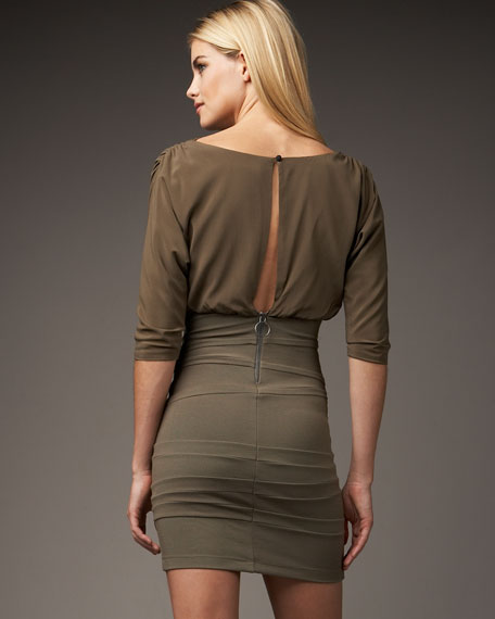 Dolman Sleeve With Fitted Skirt Dress