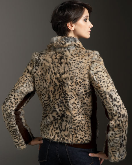 Wild Thing Leopard-Print Rabbit Motorcycle Jacket