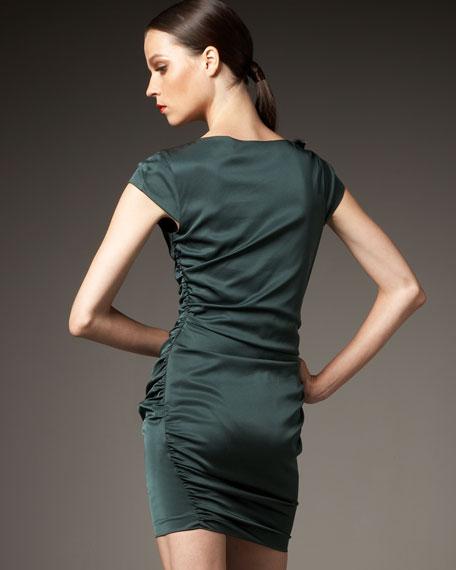 Cap-Sleeve Feather Dress