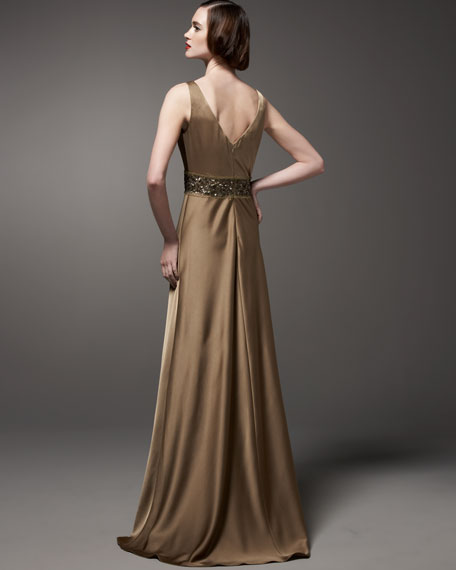 Twist-Front Beaded Gown