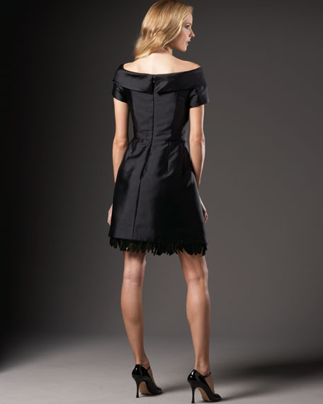 Satin Dress with Feather Bottom