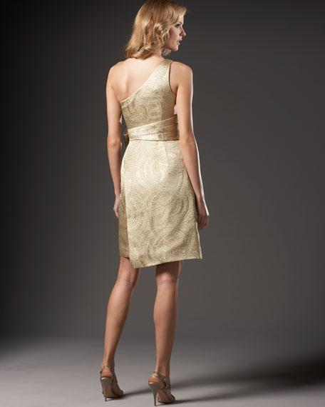 One-Shoulder Side-Flutter Dress