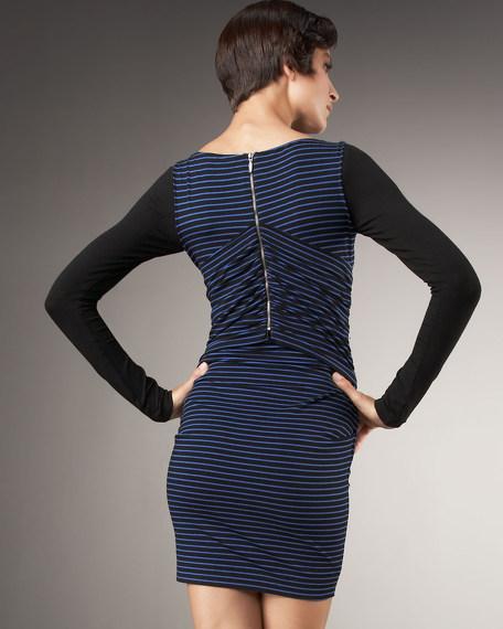 Twist-Front Striped Dress